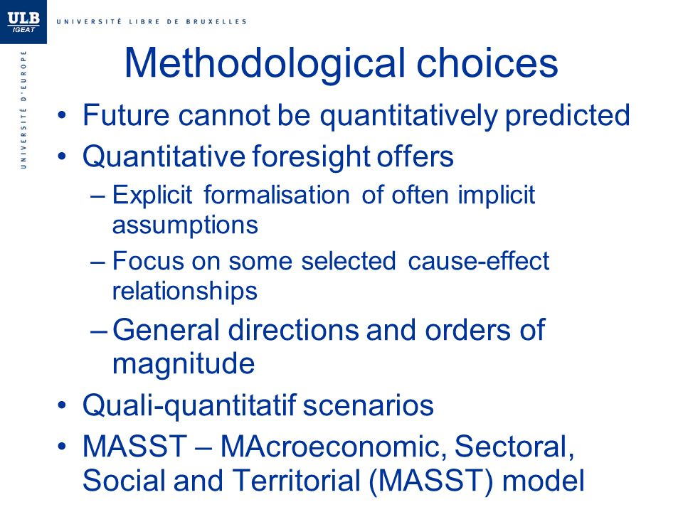 Methodological choices Future cannot be quantitatively predicted Quantitative foresight offers –Explicit formalisation of often implicit assumptions –Focus on some selected cause-effect relationships –General directions and orders of magnitude Quali-quantitatif scenarios MASST – MAcroeconomic, Sectoral, Social and Territorial (MASST) model