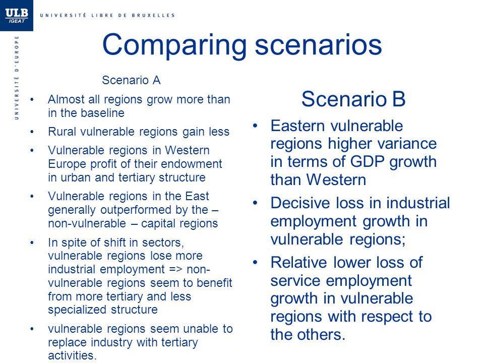 Comparing scenarios Scenario A Almost all regions grow more than in the baseline Rural vulnerable regions gain less Vulnerable regions in Western Europe profit of their endowment in urban and tertiary structure Vulnerable regions in the East generally outperformed by the – non-vulnerable – capital regions In spite of shift in sectors, vulnerable regions lose more industrial employment => non- vulnerable regions seem to benefit from more tertiary and less specialized structure vulnerable regions seem unable to replace industry with tertiary activities.