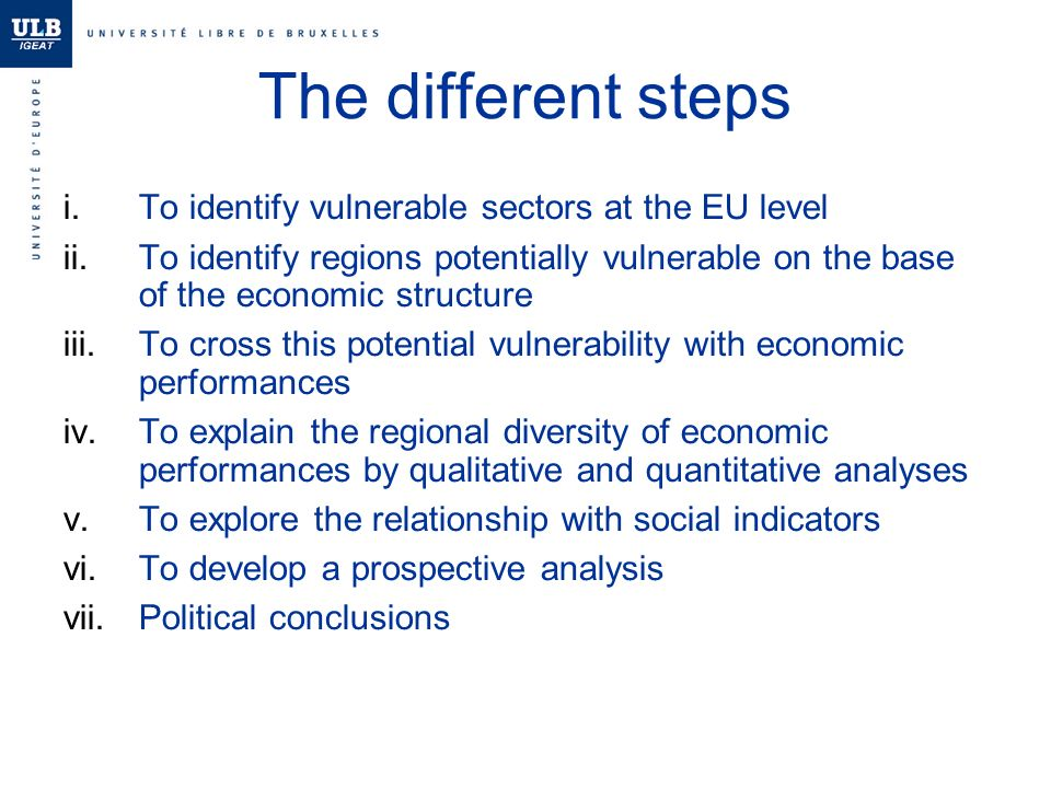 The different steps i.To identify vulnerable sectors at the EU level ii.To identify regions potentially vulnerable on the base of the economic structure iii.To cross this potential vulnerability with economic performances iv.To explain the regional diversity of economic performances by qualitative and quantitative analyses v.To explore the relationship with social indicators vi.To develop a prospective analysis vii.Political conclusions