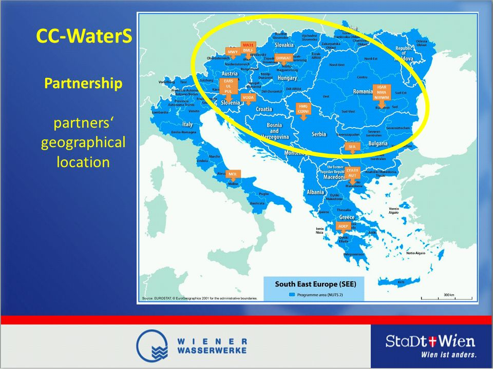 CC-WaterS Partnership partners geographical location