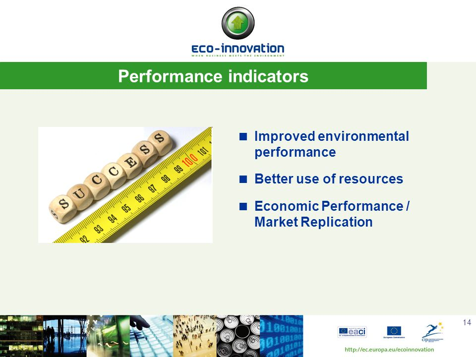 14 Performance indicators Improved environmental performance Better use of resources Economic Performance / Market Replication