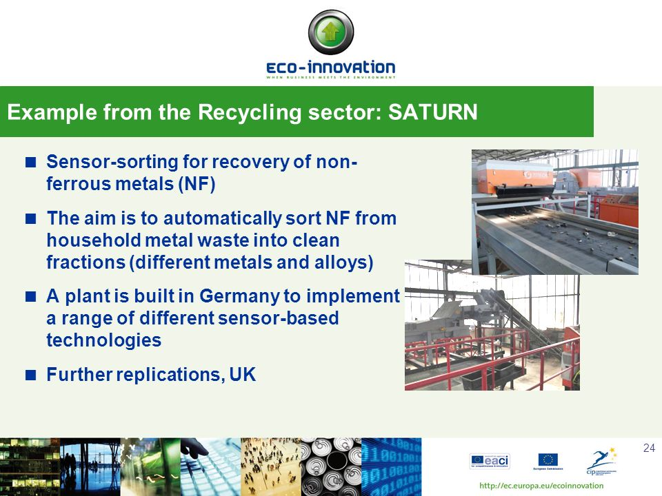 24 Sensor-sorting for recovery of non- ferrous metals (NF) The aim is to automatically sort NF from household metal waste into clean fractions (differ