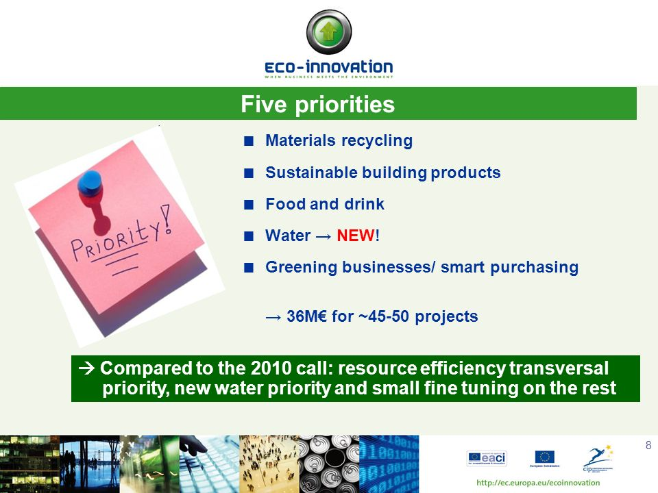 8 Materials recycling Sustainable building products Food and drink Water NEW! Greening businesses/ smart purchasing 36M for ~45-50 projects Five prior