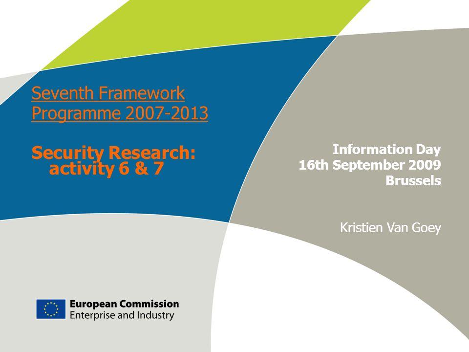 Work programme 2009 – Info Day European Commission – DG Enterprise & Industry E-M. Engdahl Information Day 16th September 2009 Brussels Kristien Van G