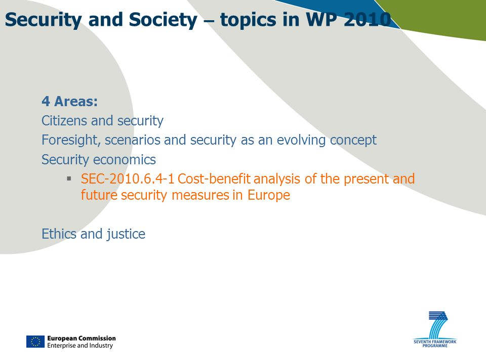 Security and Society – topics in WP 2010 4 Areas: Citizens and security Foresight, scenarios and security as an evolving concept Security economics SE