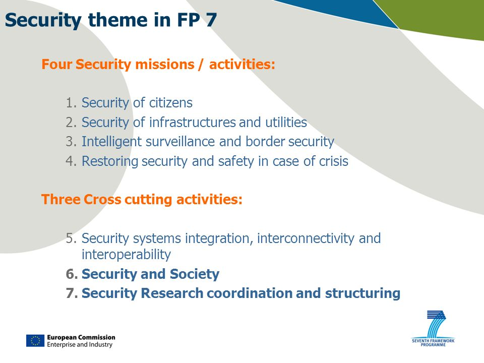 Security theme in FP 7 Four Security missions / activities: 1.Security of citizens 2.Security of infrastructures and utilities 3.Intelligent surveilla