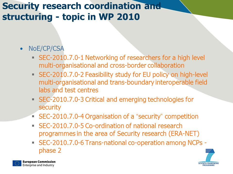 Security research coordination and structuring - topic in WP 2010 NoE/CP/CSA SEC-2010.7.0-1 Networking of researchers for a high level multi-organisat