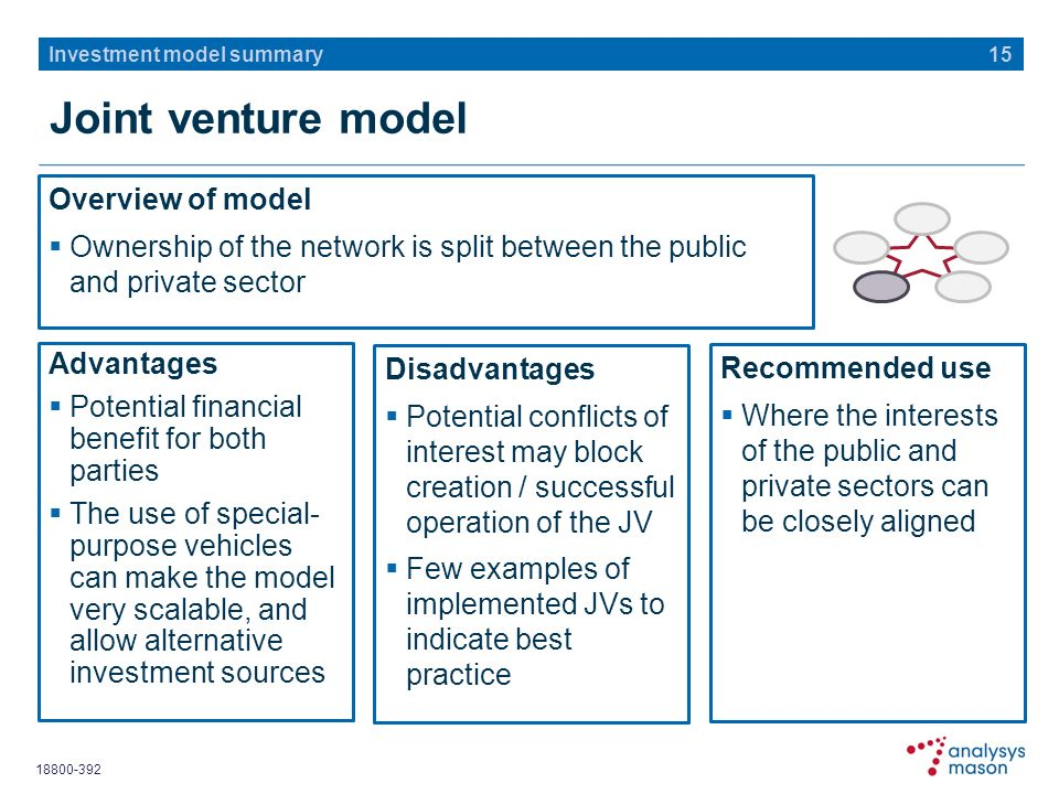 Joint venture model Overview of model Ownership of the network is split between the public and private sector 15 Investment model summary Advantages Potential financial benefit for both parties The use of special- purpose vehicles can make the model very scalable, and allow alternative investment sources Disadvantages Potential conflicts of interest may block creation / successful operation of the JV Few examples of implemented JVs to indicate best practice Recommended use Where the interests of the public and private sectors can be closely aligned