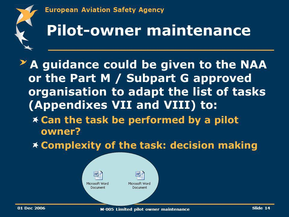 European Aviation Safety Agency 01 Dec 2006 M-005 Limited pilot owner maintenance Slide 14 Pilot-owner maintenance A guidance could be given to the NA