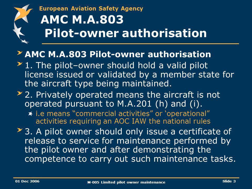 European Aviation Safety Agency 01 Dec 2006 M-005 Limited pilot owner maintenance Slide 3 AMC M.A.803 Pilot-owner authorisation 1.