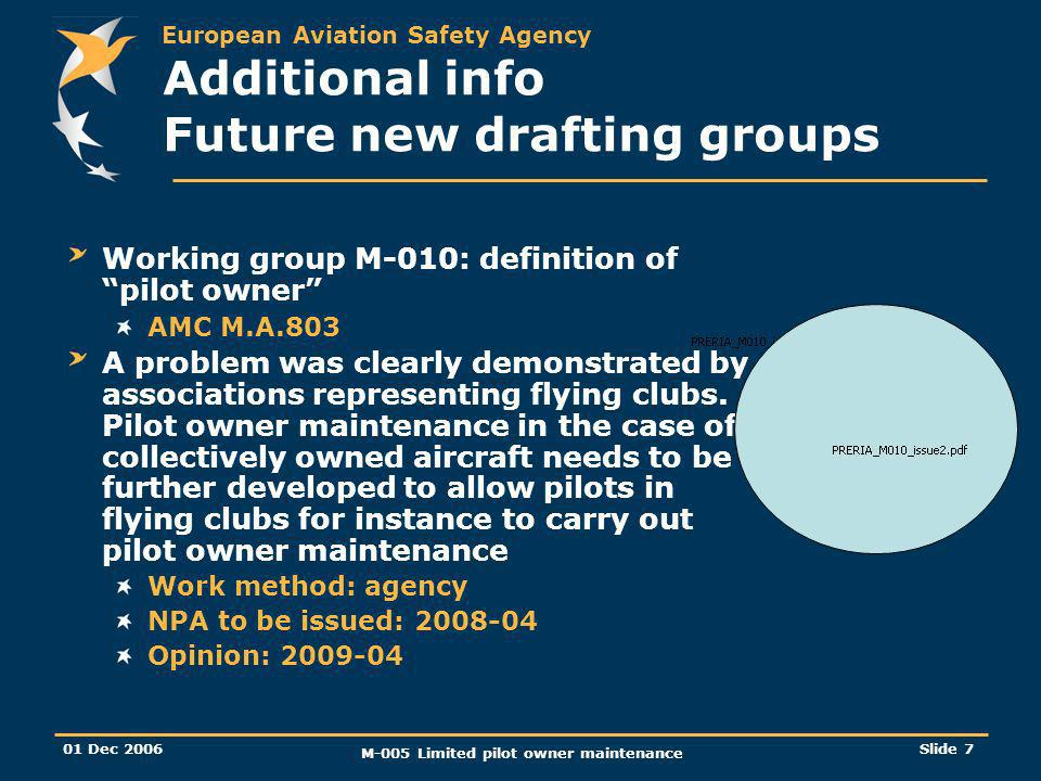 European Aviation Safety Agency 01 Dec 2006 M-005 Limited pilot owner maintenance Slide 7 Additional info Future new drafting groups Working group M-010: definition of pilot owner AMC M.A.803 A problem was clearly demonstrated by associations representing flying clubs.