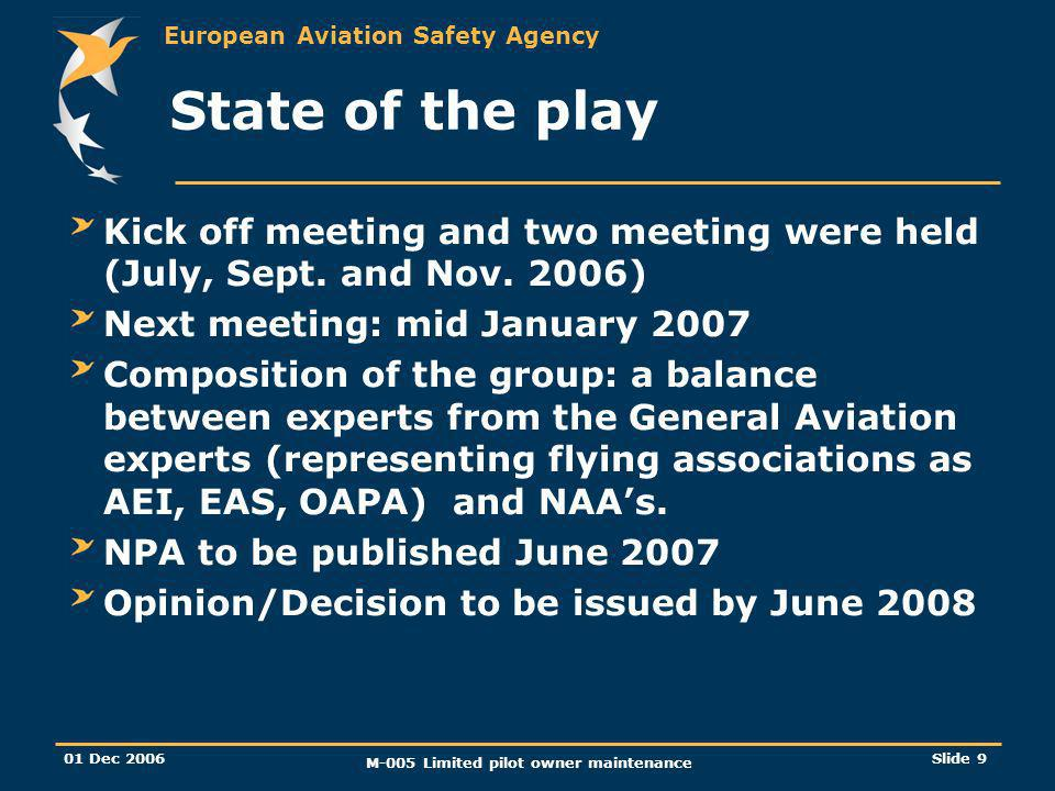 European Aviation Safety Agency 01 Dec 2006 M-005 Limited pilot owner maintenance Slide 9 State of the play Kick off meeting and two meeting were held (July, Sept.