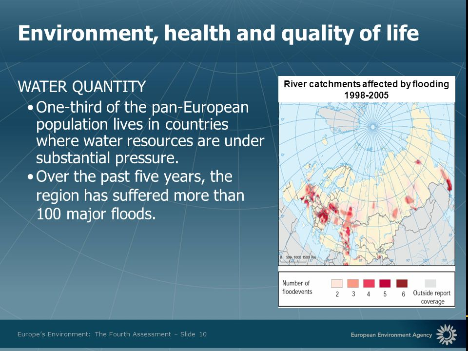 European Environment Agency Europes Environment: The Fourth Assessment – Slide 10 River catchments affected by flooding 1998-2005 WATER QUANTITY One t