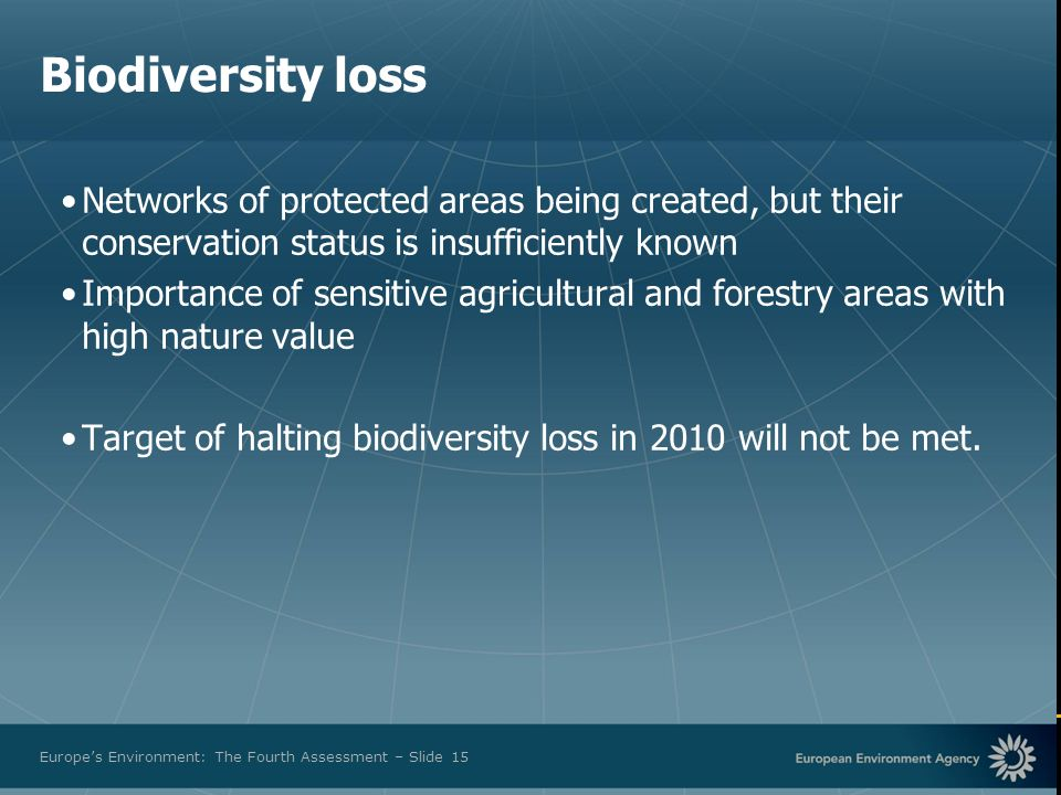 European Environment Agency Europes Environment: The Fourth Assessment – Slide 15 Biodiversity loss Networks of protected areas being created, but the