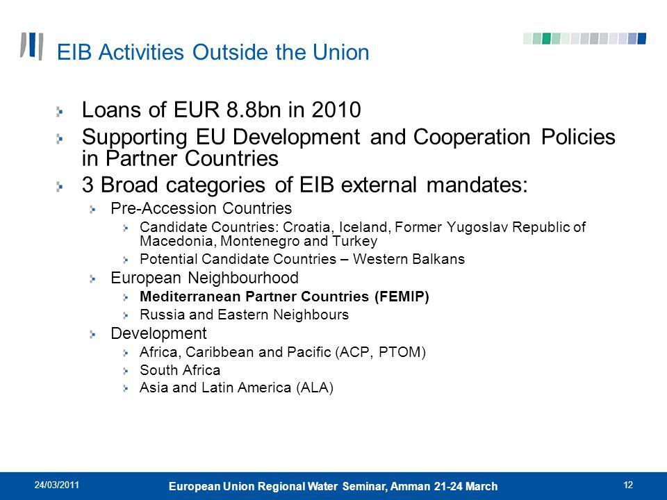 24/03/201112 European Union Regional Water Seminar, Amman 21-24 March EIB Activities Outside the Union Loans of EUR 8.8bn in 2010 Supporting EU Develo