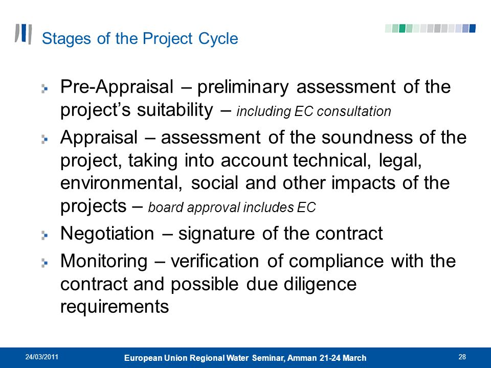 24/03/201128 European Union Regional Water Seminar, Amman 21-24 March Stages of the Project Cycle Pre-Appraisal – preliminary assessment of the projec