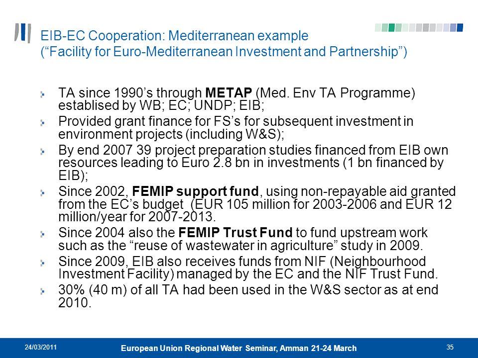 24/03/201135 European Union Regional Water Seminar, Amman 21-24 March EIB-EC Cooperation: Mediterranean example (Facility for Euro-Mediterranean Inves