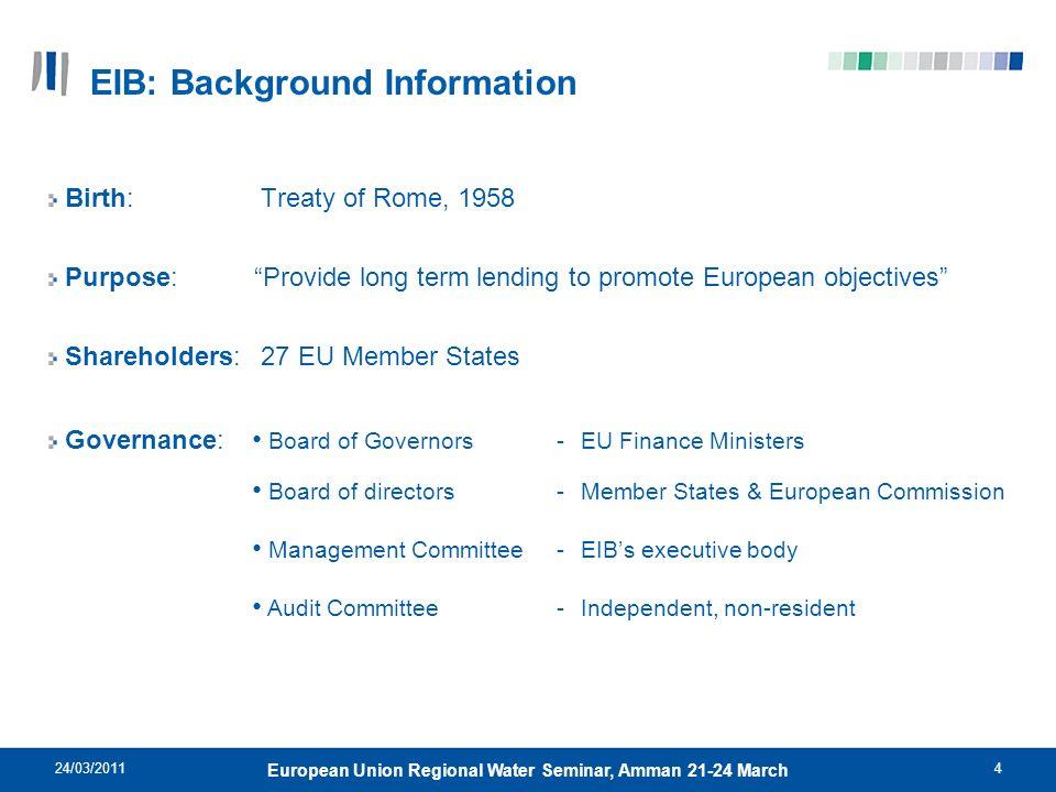 24/03/20114 European Union Regional Water Seminar, Amman 21-24 March Birth: Treaty of Rome, 1958 Purpose: Provide long term lending to promote Europea