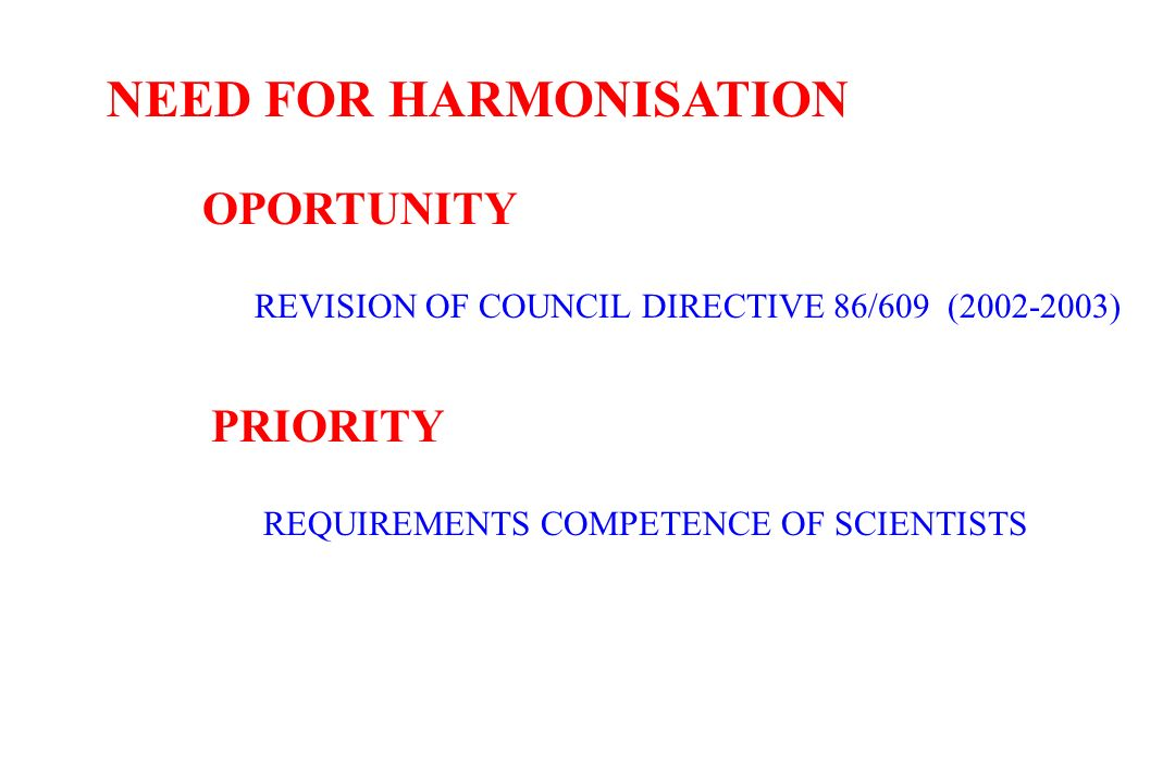 NEED FOR HARMONISATION OPORTUNITY REVISION OF COUNCIL DIRECTIVE 86/609 (2002-2003) PRIORITY REQUIREMENTS COMPETENCE OF SCIENTISTS