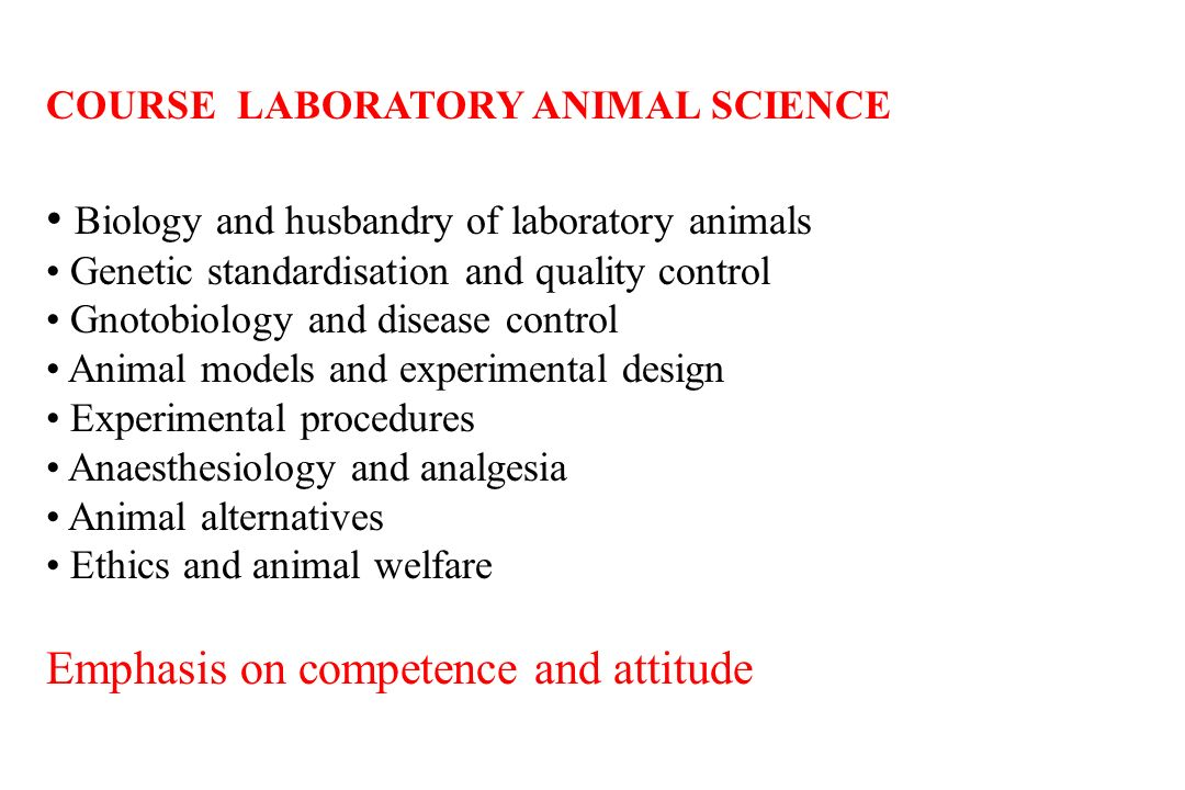 COURSE LABORATORY ANIMAL SCIENCE Biology and husbandry of laboratory animals Genetic standardisation and quality control Gnotobiology and disease control Animal models and experimental design Experimental procedures Anaesthesiology and analgesia Animal alternatives Ethics and animal welfare Emphasis on competence and attitude