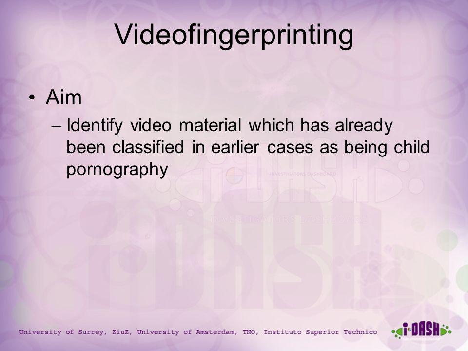 University of Surrey, ZiuZ, University of Amsterdam, TNO, Instituto Superior Technico Videofingerprinting Aim –Identify video material which has alrea