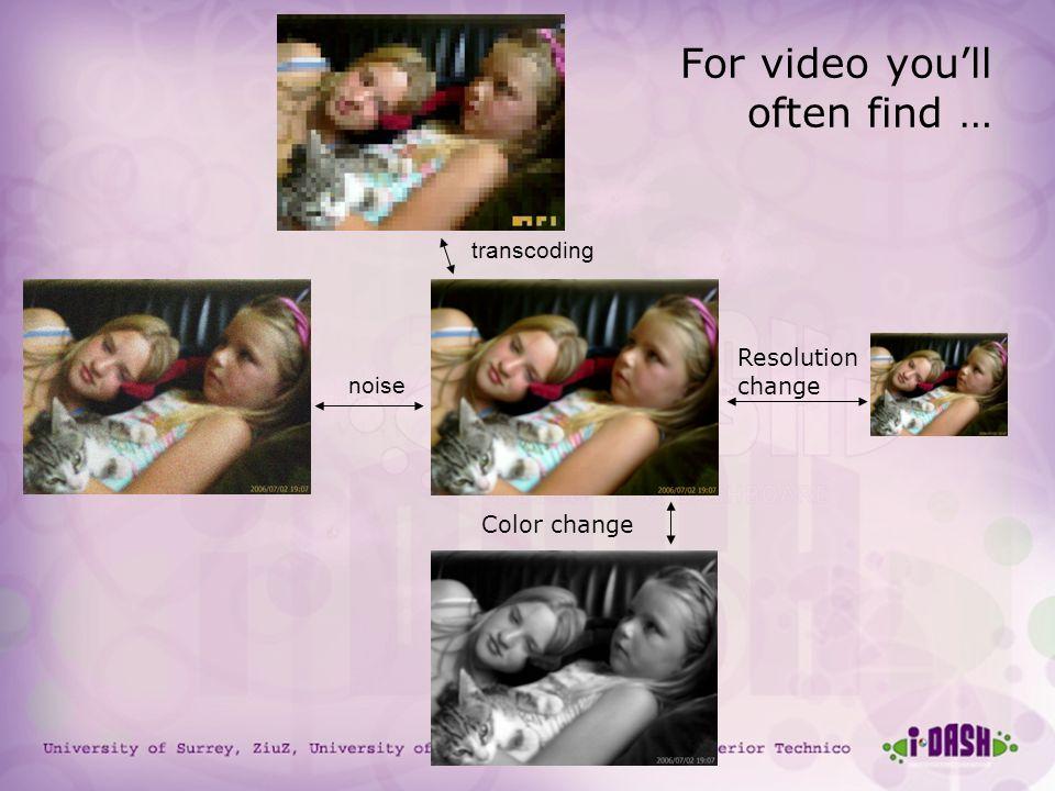 University of Surrey, ZiuZ, University of Amsterdam, TNO, Instituto Superior Technico For video youll often find … Resolution change Color change nois
