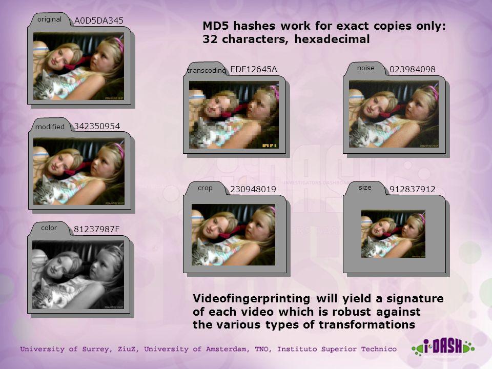 University of Surrey, ZiuZ, University of Amsterdam, TNO, Instituto Superior Technico MD5 hashes work for exact copies only: 32 characters, hexadecima