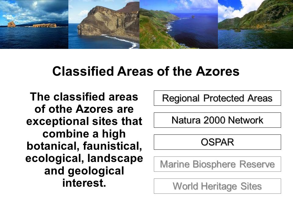 Classified Areas of the Azores The classified areas of othe Azores are exceptional sites that combine a high botanical, faunistical, ecological, landscape and geological interest.