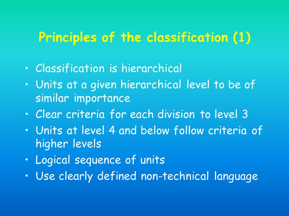 Principles of the classification (1) Classification is hierarchical Units at a given hierarchical level to be of similar importance Clear criteria for each division to level 3 Units at level 4 and below follow criteria of higher levels Logical sequence of units Use clearly defined non-technical language