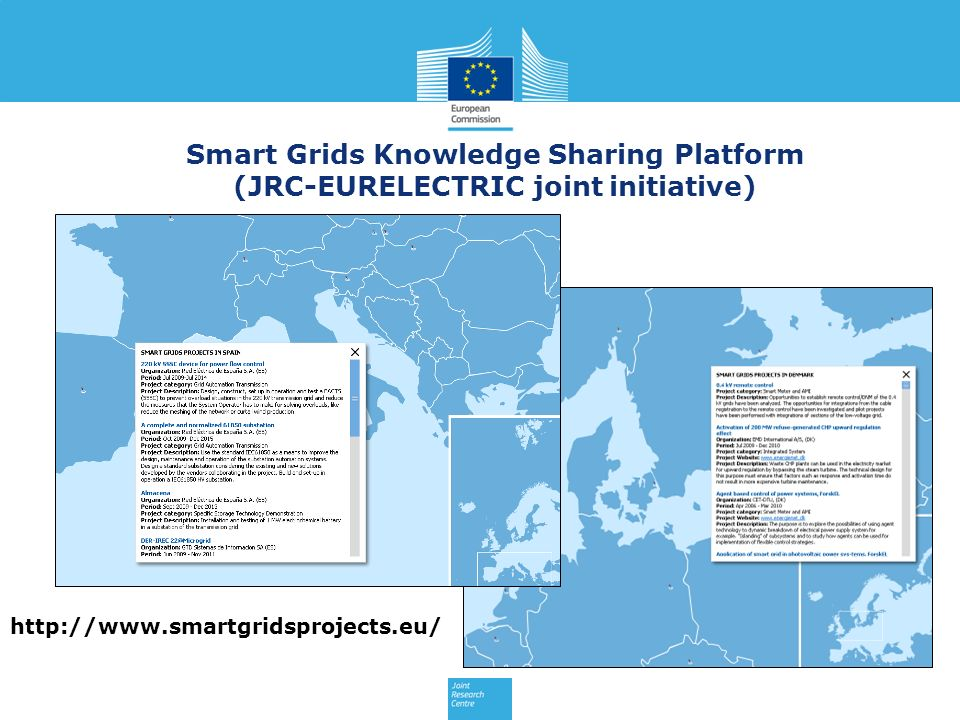 Smart Grids Knowledge Sharing Platform (JRC-EURELECTRIC joint initiative) http://www.smartgridsprojects.eu/