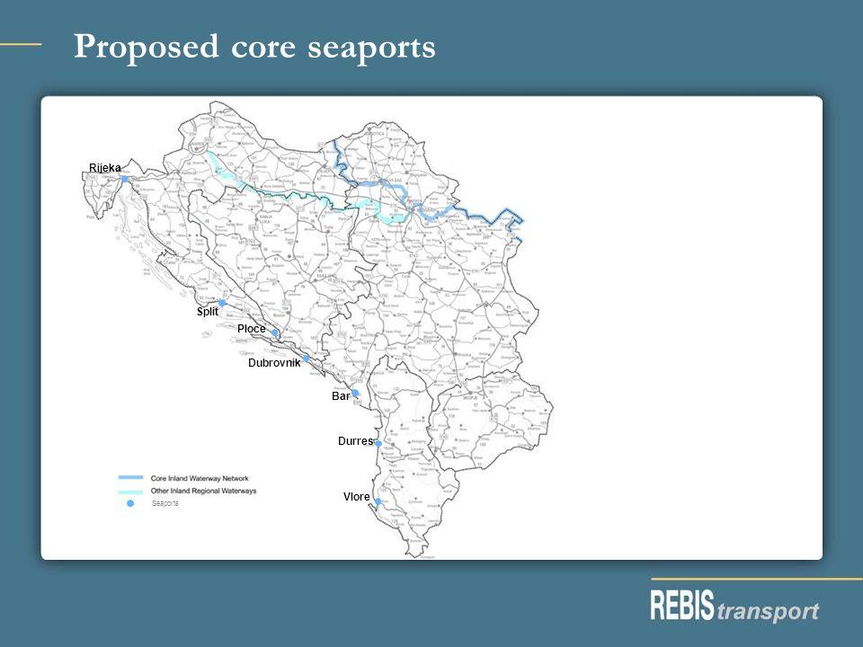 Proposed core seaports Seaports Rijeka Split Ploce Dubrovnik Bar Durres Vlore