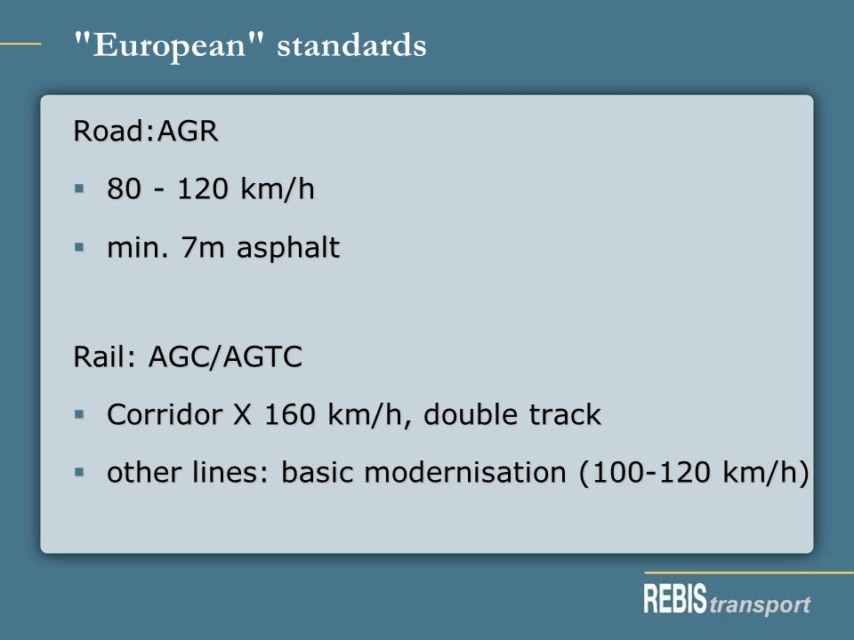European standards Road:AGR 80 - 120 km/h 80 - 120 km/h min.
