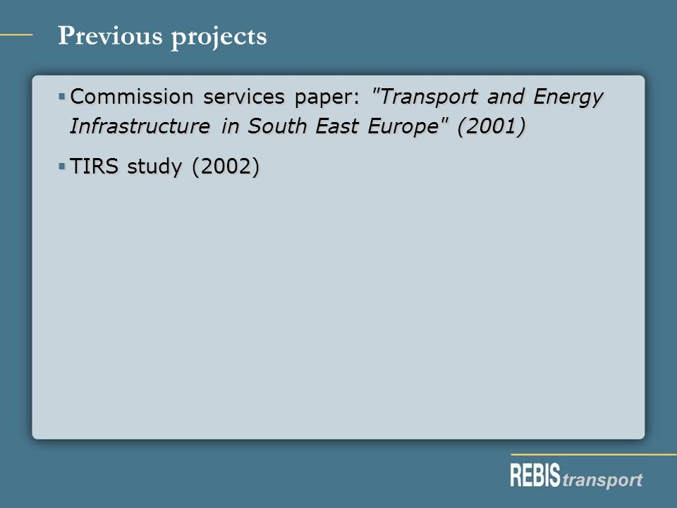 Previous projects Commission services paper: