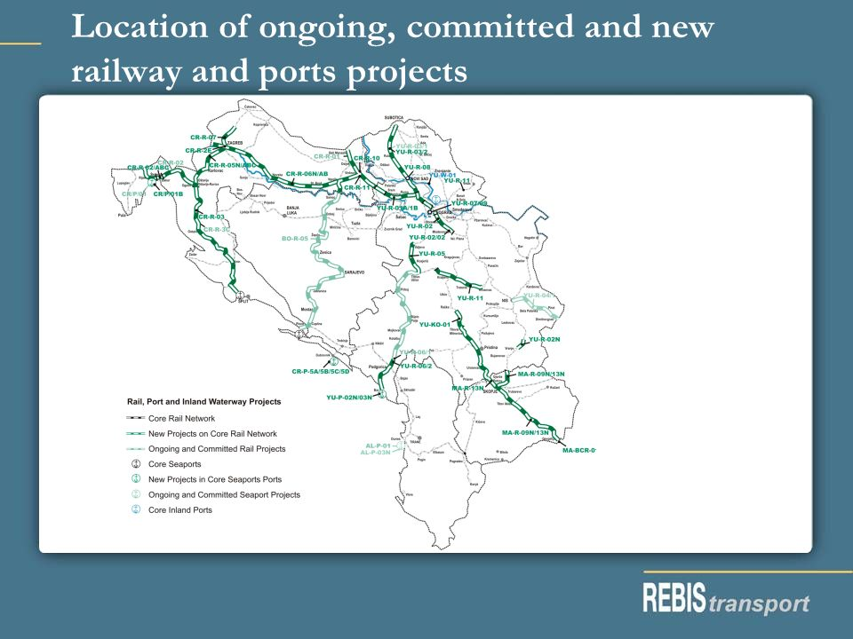 Location of ongoing, committed and new railway and ports projects