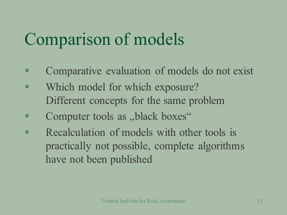 Federal Institute for Risk Assessment10 Models §A number of models have been developed based on published literature §OECD has prepared an inventory of models §A limited number of tools are regularly used for exposure evaluation e.g.: l EU: EUSES, CONSEXPO, EASE l US: SCIES; CEM, MCCEM, THERdBASE §Validation remains a problem