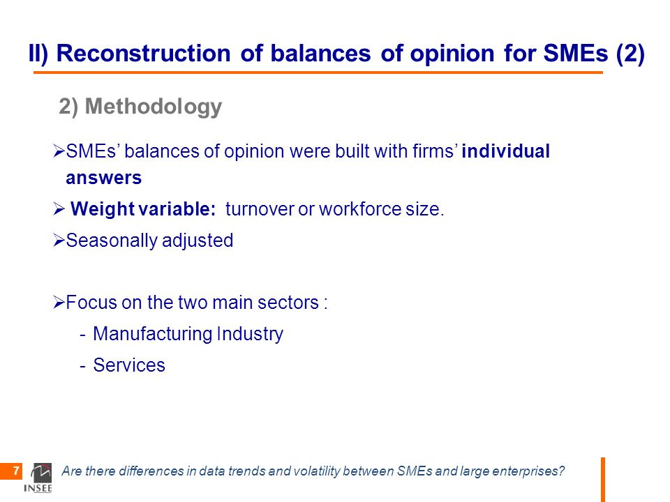 Are there differences in data trends and volatility between SMEs and large enterprises? 7 II) Reconstruction of balances of opinion for SMEs (2) 2) Me