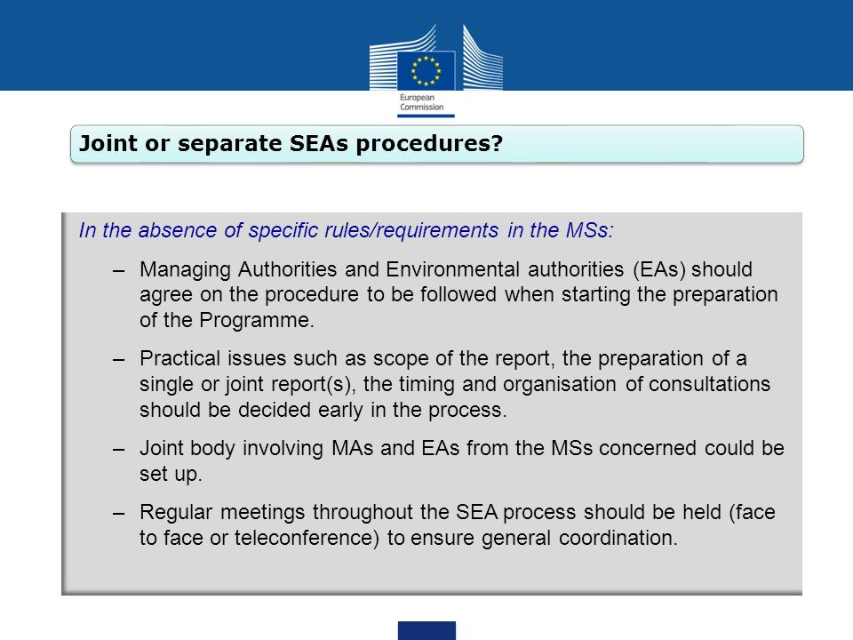 Joint or separate SEAs procedures? In the absence of specific rules/requirements in the MSs: –Managing Authorities and Environmental authorities (EAs)