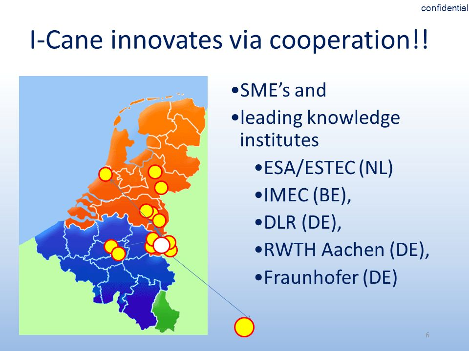6 I-Cane innovates via cooperation!! SMEs and leading knowledge institutes ESA/ESTEC (NL) IMEC (BE), DLR (DE), RWTH Aachen (DE), Fraunhofer (DE) confi