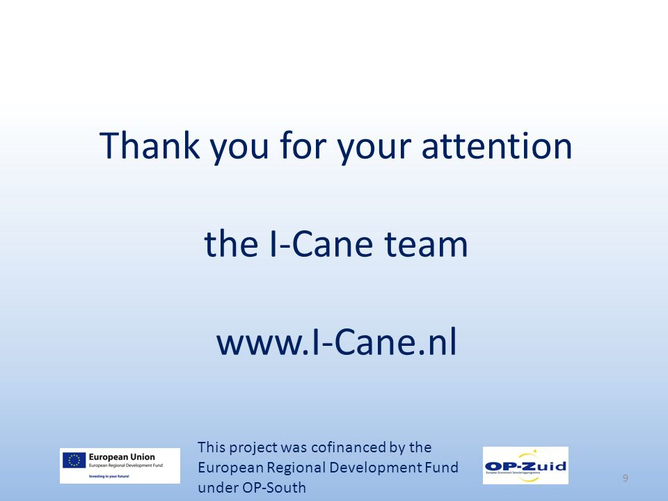 Thank you for your attention the I-Cane team www.I-Cane.nl 9 This project was cofinanced by the European Regional Development Fund under OP-South