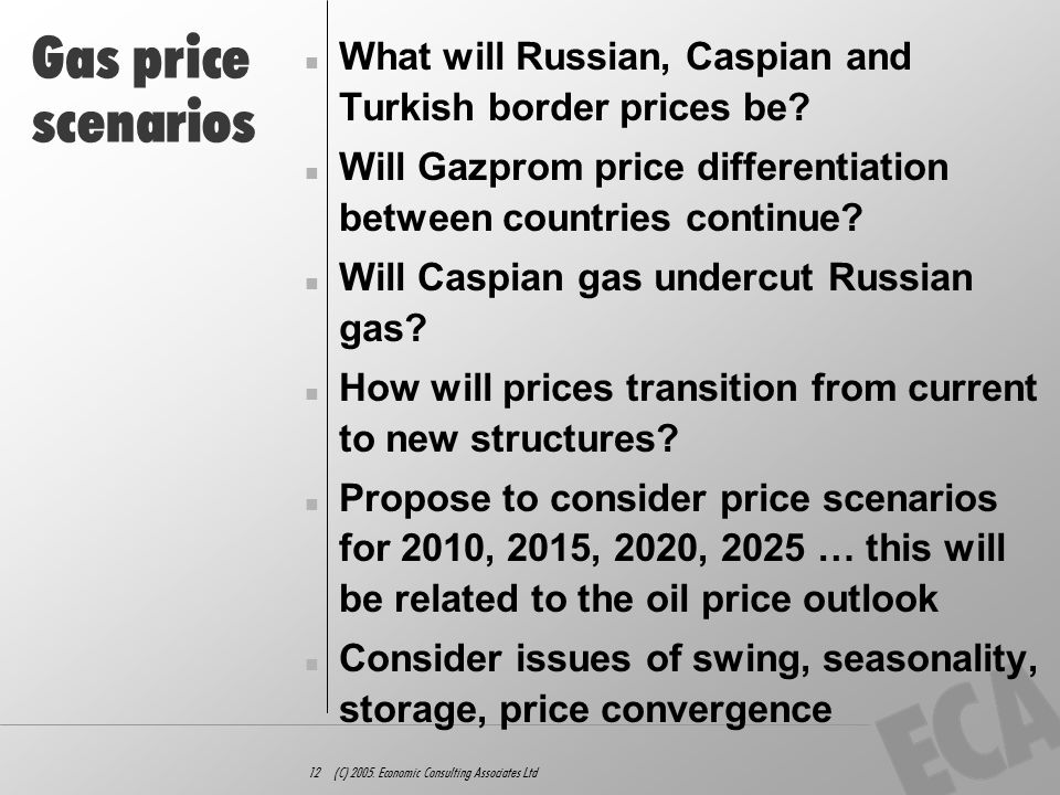 12 (C) 2005. Economic Consulting Associates Ltd Gas price scenarios What will Russian, Caspian and Turkish border prices be? Will Gazprom price differ