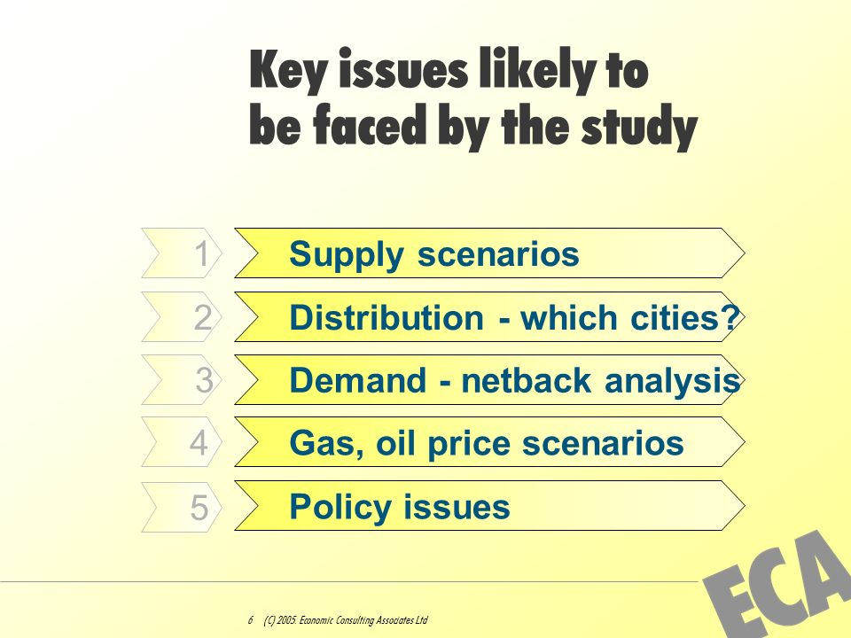 6 (C) 2005. Economic Consulting Associates Ltd Key issues likely to be faced by the study Supply scenarios Distribution - which cities? Demand - netba