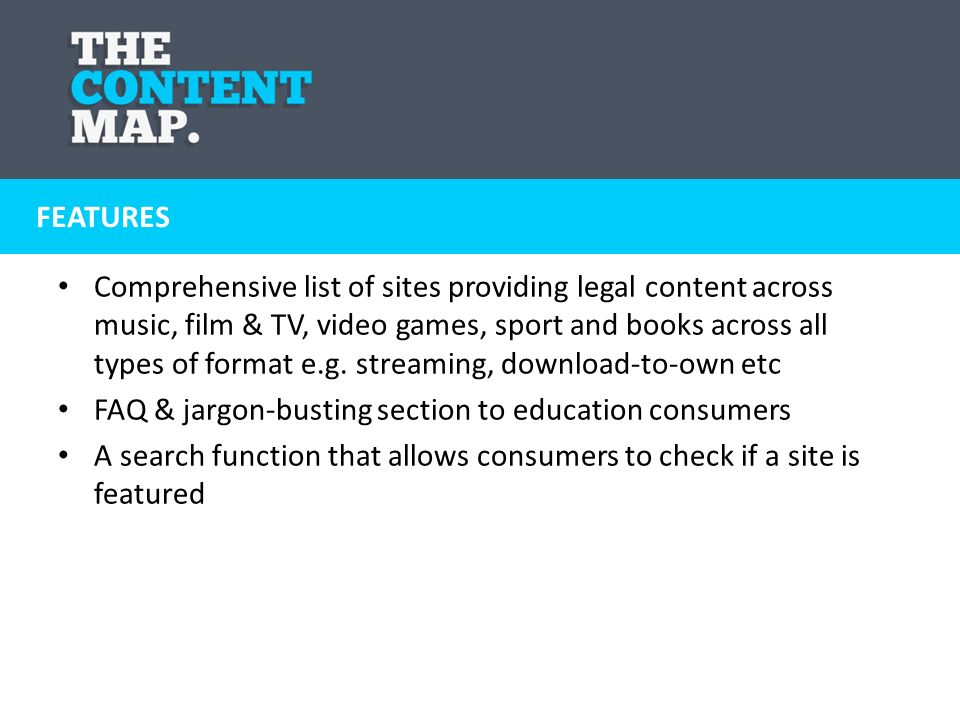 Comprehensive list of sites providing legal content across music, film & TV, video games, sport and books across all types of format e.g. streaming, d