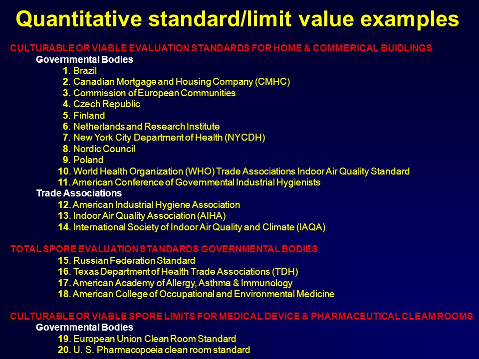 Quantitative standard/limit value examples CULTURABLE OR VIABLE EVALUATION STANDARDS FOR HOME & COMMERICAL BUIDLINGS Governmental Bodies 1.