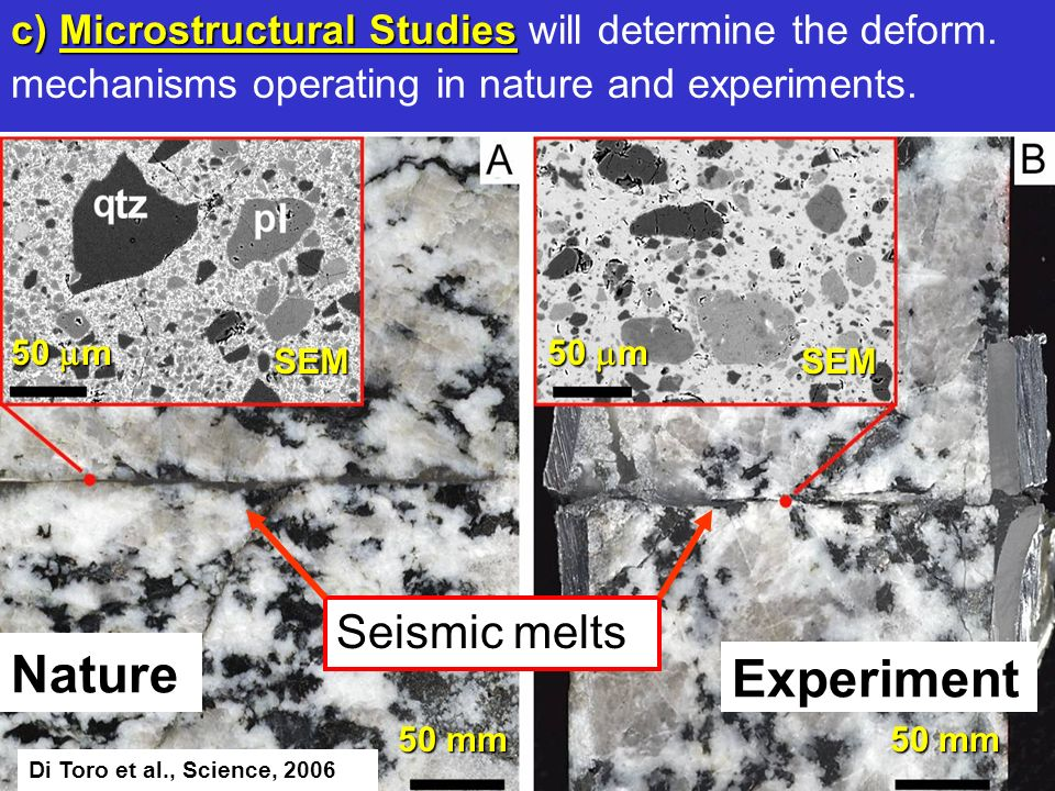 Experiment Nature Seismic melts 50 mm 50 m 50 mm c) Microstructural Studies c) Microstructural Studies will determine the deform. mechanisms operating