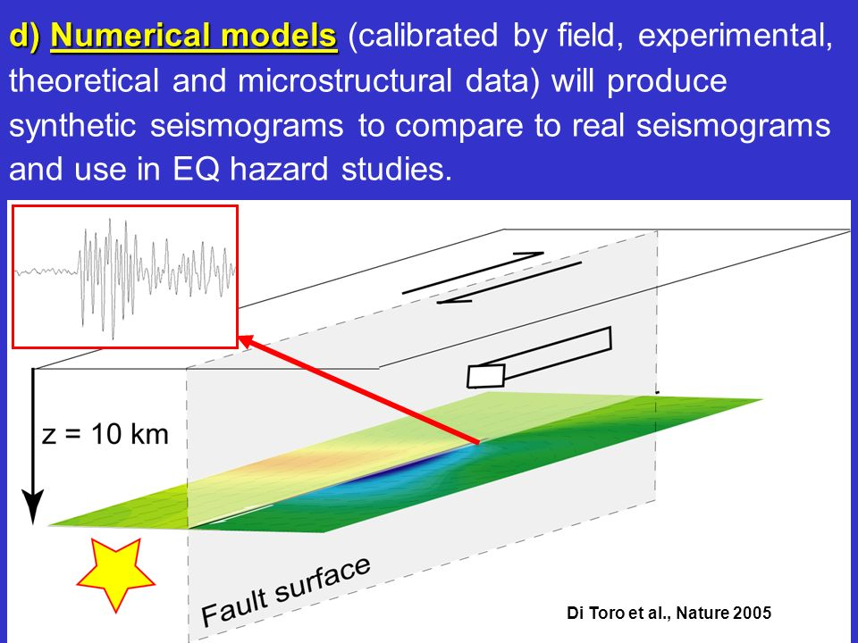 Di Toro et al., Nature 2005 d) Numerical models d) Numerical models (calibrated by field, experimental, theoretical and microstructural data) will pro