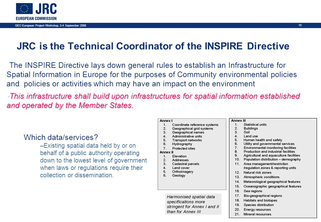 GEO European Project Workshop, 3-4 September JRC is the Technical Coordinator of the INSPIRE Directive The INSPIRE Directive lays down general rules to establish an Infrastructure for Spatial Information in Europe for the purposes of Community environmental policies and policies or activities which may have an impact on the environment This infrastructure shall build upon infrastructures for spatial information established and operated by the Member States.This infrastructure shall build upon infrastructures for spatial information established and operated by the Member States.