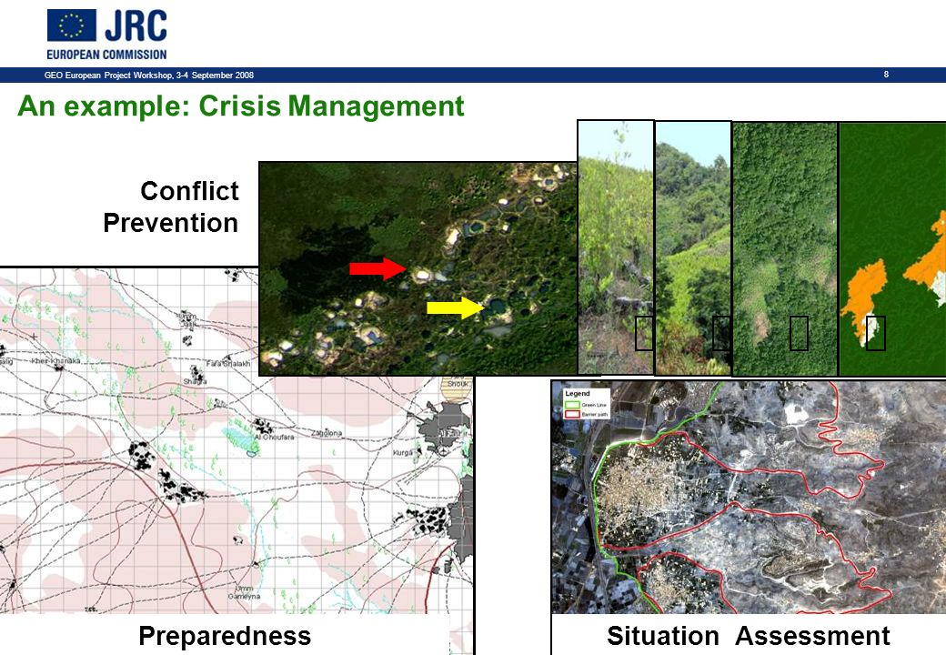 GEO European Project Workshop, 3-4 September An example: Crisis Management Conflict Prevention GRI Situation AssessmentPreparedness