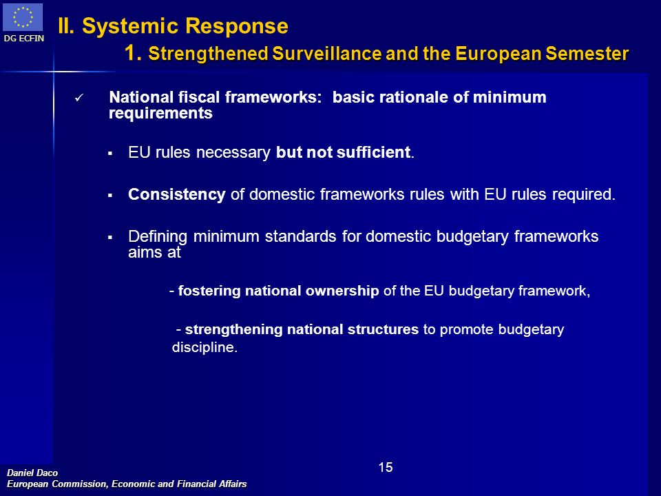 DG ECFIN Daniel Daco European Commission, Economic and Financial Affairs 15 National fiscal frameworks: basic rationale of minimum requirements EU rul