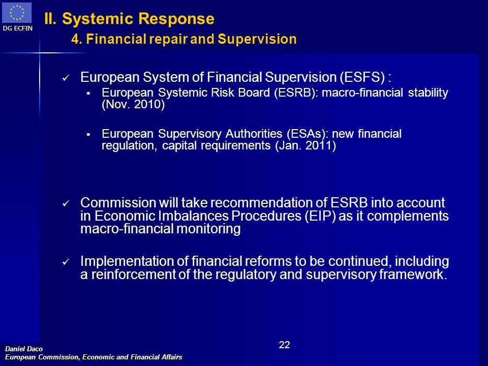 DG ECFIN Daniel Daco European Commission, Economic and Financial Affairs 22 4. II. Systemic Response 4. Financial repair and Supervision European Syst