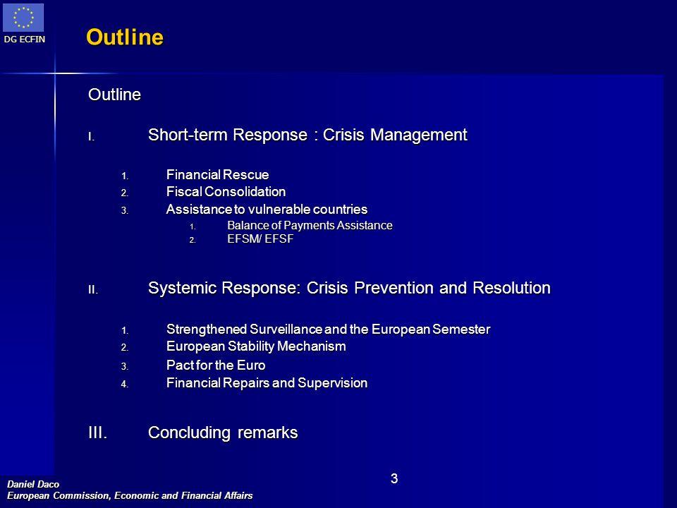 DG ECFIN Daniel Daco European Commission, Economic and Financial Affairs 3 Outline Outline I.